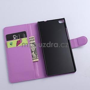 Kožené peňaženkové puzdro na Huawei Ascend P8 - fialový - 5
