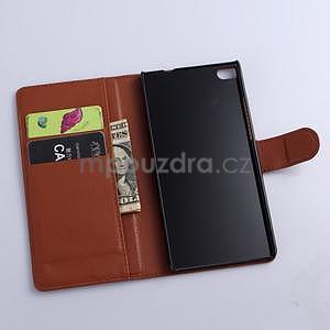 Kožené peňaženkové puzdro na Huawei Ascend P8 - hnědý - 5