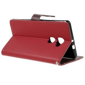 Knižkové PU kožené puzdro na mobil Huawei Mate S - červené - 5