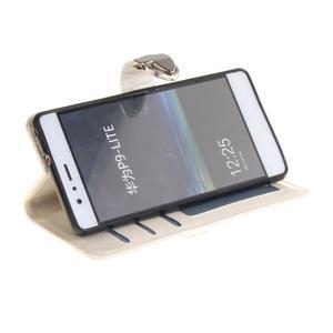 Luxury PU kožené peněženkové pouzdro na Huawei P9 Lite - bílé - 5