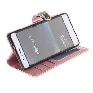 Luxury PU kožené peněženkové pouzdro na Huawei P9 Lite - růžové - 5
