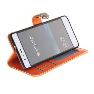 Luxury PU kožené peňaženkové puzdro na Huawei P9 Lite - oranžové - 5