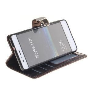 Luxury PU kožené peněženkové pouzdro na Huawei P9 Lite - coffee - 5