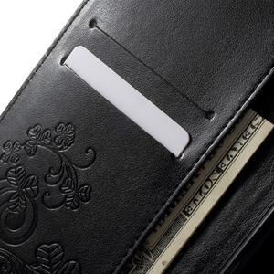 Cloverleaf penženkové puzdro s kamínky na Huawei P9 Lite - čierne - 5