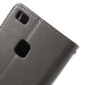 Cloverleaf penženkové pouzdro s kamínky na Huawei P9 Lite - šedé - 5