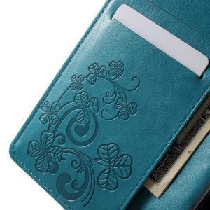 Cloverleaf penženkové pouzdro s kamínky na Huawei P9 Lite - modré - 5
