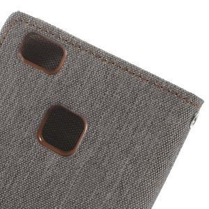 Canvas PU kožené/textilní pouzdro na Huawei P9 Lite - šedé - 5