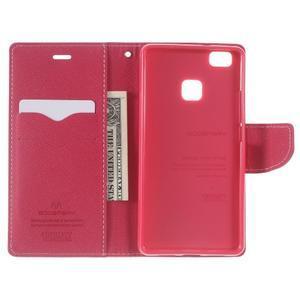 Diary PU kožené pouzdro na telefon Huawei P9 Lite - růžové - 5