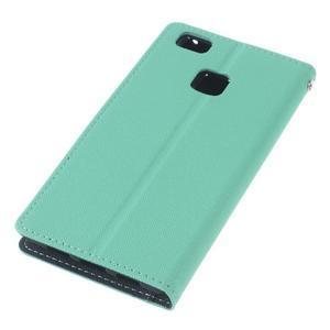 Diary PU kožené pouzdro na telefon Huawei P9 Lite - azurové - 5