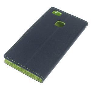 Diary PU kožené puzdro na telefon Huawei P9 Lite - tmavomodré - 5