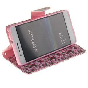 Lethy knížkové pouzdro na telefon Huawei P9 Lite - koláž růží - 5