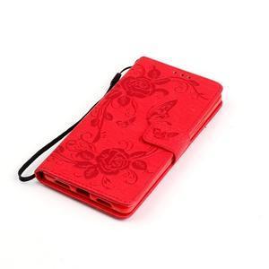 Květinoví motýlci peněženkové pouzdro na Huawei P9 Lite - červené - 5