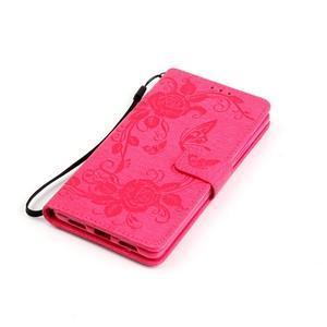 Květinoví motýlci peněženkové pouzdro na Huawei P9 Lite - rose - 5