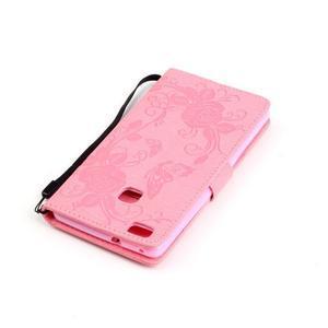 Kvetinové motýle peňaženkové puzdro na Huawei P9 Lite - ružové - 5