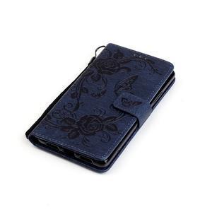 Kvetinové motýle peňaženkové puzdro na Huawei P9 Lite - tmavomodré - 5