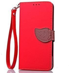 Leaf PU kožené puzdro na Huawei P9 Lite - červené - 5