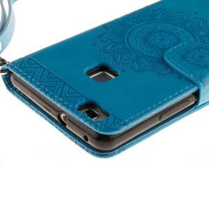 Mandala PU kožené pouzdro na Huawei P9 Lite - modré - 5