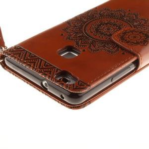Mandala PU kožené puzdro na Huawei P9 Lite - hnedé - 5