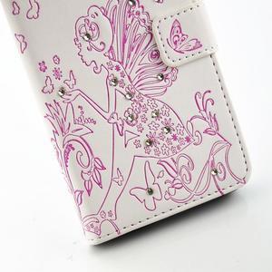 Víla PU kožené pouzdro s kamínky na Huawei P9 Lite - bílé/růžové - 5