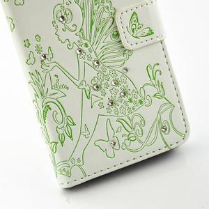 Víla PU kožené pouzdro s kamínky na Huawei P9 Lite - bílé/zelené - 5