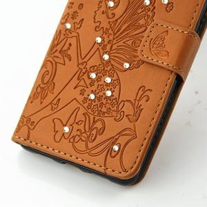 Víla PU kožené pouzdro s kamínky na Huawei P9 Lite - hnědé - 5