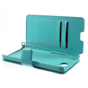 Tyrkysové kožené puzdro na Huawei Y635 - 5
