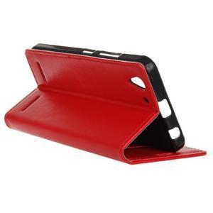 Knížkové PU kožené puzdro pre Lenovo Vibe K5 / K5 Plus - červené - 5