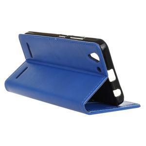 Knížkové PU kožené puzdro pre Lenovo Vibe K5 / K5 Plus - modré - 5