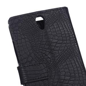 Croco PU kožené pouzdro na mobil Lenovo Vibe S1 - černé - 5