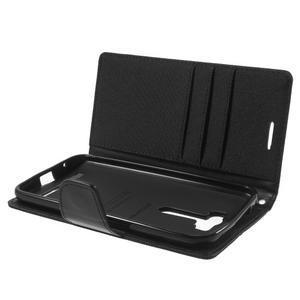 Canvas textilní/PU kožené puzdro na Asus Zenfone 2 Laser - čierné - 5
