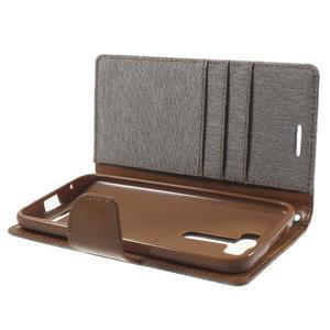 Canvas textilné/PU kožené puzdro pre Asus Zenfone 2 Laser - šedé - 5
