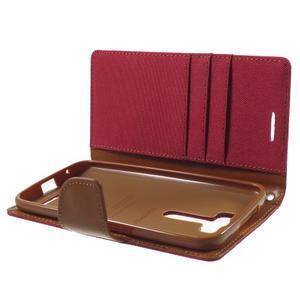 Canvas textilní/PU kožené puzdro na Asus Zenfone 2 Laser - červené - 5