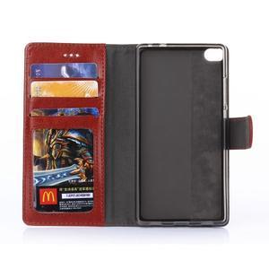 Koženkové puzdro na mobil Huawei Ascend P8 - hnedé - 5