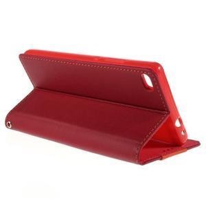 Style peňaženkové puzdro na Huawei Ascend P8 - červené - 5