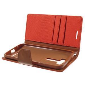 Canvas textilní/PU kožené puzdro na Asus Zenfone 2 Laser - oranžové - 5