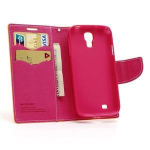 Fancy peňaženkové puzdro pre Samsung Galaxy S4 - žlté - 5