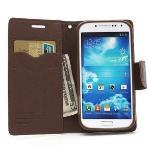Fancy peňaženkové puzdro na Samsung Galaxy S4 - čierné/hnedé - 5