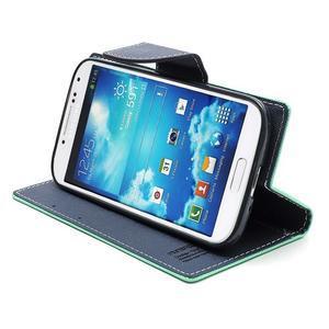 Fancy peňaženkové puzdro na Samsung Galaxy S4 -  azurové - 5
