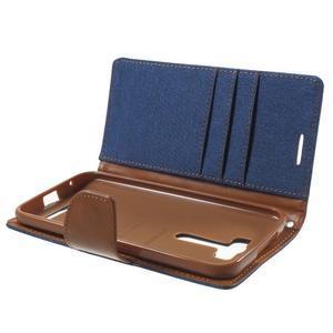 Canvas textilní/PU kožené puzdro na Asus Zenfone 2 Laser - modré - 5