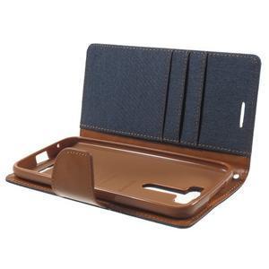 Canvas textilní/PU kožené puzdro na Asus Zenfone 2 Laser - tmavo modré - 5