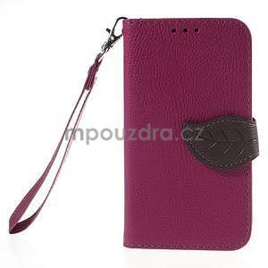 Rose/hnedé peňaženkové puzdro pre Samsung Galaxy Core Prime - 5