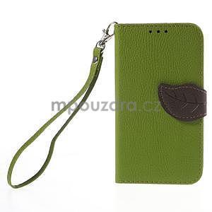 Zelené/hnedé peňaženkové puzdro pre Samsung Galaxy Core Prime - 5