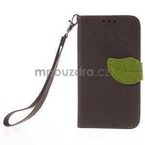 Hnedé/zelené peňaženkové puzdro pre Samsung Galaxy Core Prime - 5