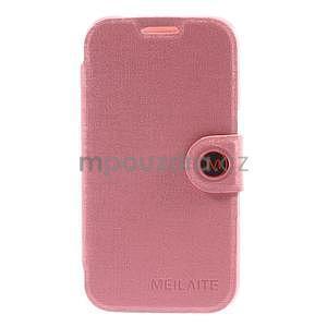 Zapínací peněženkové pouzdro na Samsung Galaxy Core Prime - růžové - 5
