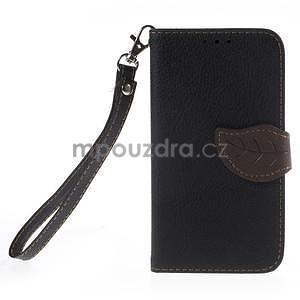 Černé/hnedé peňaženkové puzdro pre Samsung Galaxy Core Prime - 5