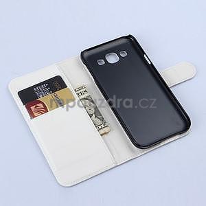 Kožené peňaženkové puzdro pre Samsung Galaxy E5 - biele - 5