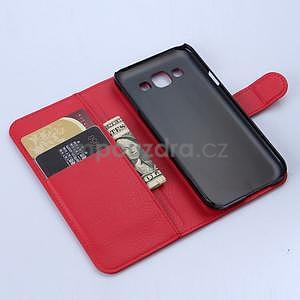 Kožené peňaženkové puzdro na Samsung Galaxy E5 - červené - 5