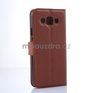 Kožené peňaženkové puzdro na Samsung Galaxy E5 - hnedé - 5