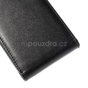 Kožené flipové puzdro Samsung Galaxy E5 - čierné - 5