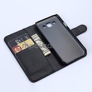 Kožené peňaženkové puzdro na Samsung Galaxy E5 - čierné - 5